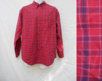 Vintage 1980s Red Plaid Button Down Flannel Shirt Long Sleeves / Large / 80s Tartan Grunge Wear Lumberjack