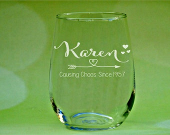 60th Birthday Gift, Causing Chaos, Birthday Wine Glass, 60th Anniversary, Vintage 1957, Chaos, Cheers to 60 Years, Woman's 60th Birthday