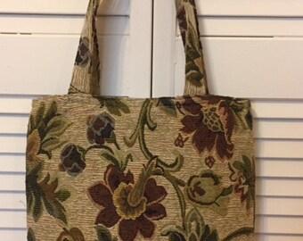 "Tapestry Floral Tote bag. 12 x 14 """