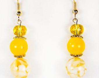 YELLOW EARRINGS, yellow jewelry, 3 yellow beads, dangle earrings, dangle jewelry, sunny earrings, lemon yellow earrings, yellow glass - 1517