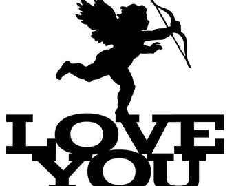 Acrylic Cake Topper - Cupid LOVE You (ARC1723) MADE IN Australia