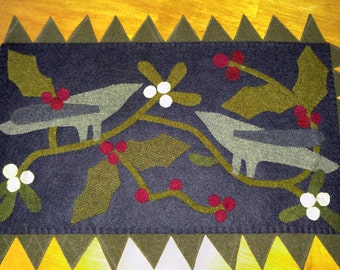 Mistletoe and Holly Wool Applique Table Runner