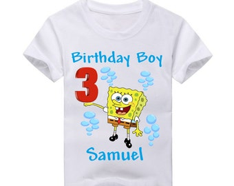 Spongebob Birthday Shirt.  2nd Birthday 3rd Birthday 4th Birthday 5th Birthday Boys birthday 6th Birthday