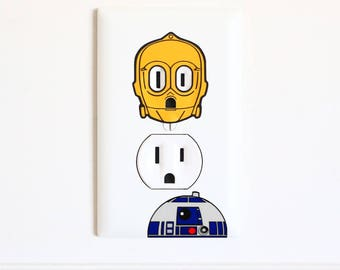 C3PO and R2D2 Combo - Star Wars - Electric Outlet Wall Art Sticker Decal