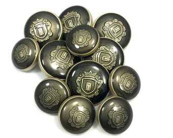 6 Big 6 Small  Antique Look Metal Buttons - Coat Buttons - Shank Buttons -Blazer Buttons- Metal Buttons - Suit Buttons - Down hole Buttons