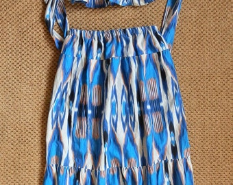 Reclaimed Vintage Blue, White and Peach Two-Piece Crop Top and Midi / Maxi Skirt Co-Ord UK Size 6/8 / US Size 2/4