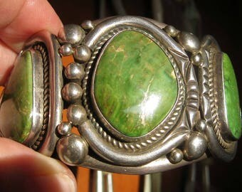huge GREEN TURQUOISE CUFF sterling bracelet, signed Able Arthur, Navajo silversmith, 116.9 grams, immaculate condition for vintage piece.