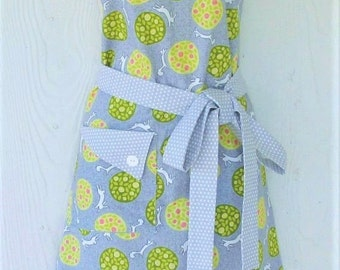 Cute Retro Easter Apron, Foxes and Rabbits, Topiary, Full Apron, Gray Polka Dots , KitschNStyle