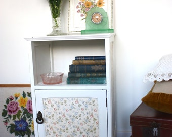 Vintage up-cycled bed side table with ditsy floral decoupage