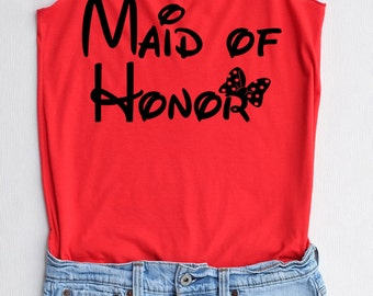 Flock Maid of honor Minnie bow - Maid of honor shirt,Maid of honor tank top,bridesmaid shirt,Team bride tank top,Bachelorette Party Tank Top