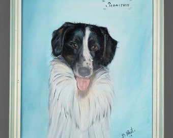 "1979 Oil Painting Border Collie Black & White Dog ""Sebastian"" Animal Art 14"" x 18"""