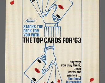 1963 19 x 27 King Of Hearts Giant Playing Card Capitol Records Top Cards For '63