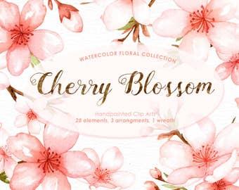 Cherry Blossom Watercolor Clip Art, Spring Flower,Flowers Clip Art, Sakura, Wedding Invitation, DIY, Pink Flowers, Graphics, Spring Set