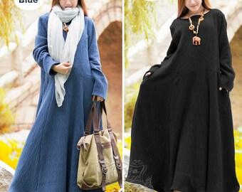 Anysize Ripple Jacquard weave Round neck and super hem linen&cotton autumn dress Winter warm dress plus size dress plus size clothing F1A