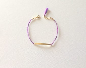 "Dainty Stackable Friendship Lilac Yellow Gold Braided Sideways Bar Tassel Bracelet 7"" w/ .5 Extender"