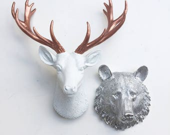 ANY COLOR SET of 2: 1 Small Deer Head + 1 Other Small Animal Head // Faux Taxidermy // Choose Sm. Bear, Wolf, Lion, Tiger, Zebra or Elephant
