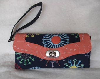 Necessary Clutch Wallet, Accordion Wallet, Navy and orange, wristlet wallet, key fabric