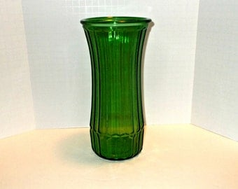 Green Hoosier Glass Vase, Green Glass Hoosier Vase, Hoosier Glass Vase, Tall Green Glass Vase, Emerald Green Ribbed Glass Vase, Green Vases