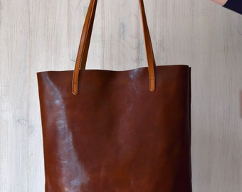 Brown Leather Tote Bag – MINIMAL CHIC in Cognac Brown - Medium Size Handmade Leather Tote