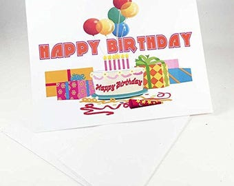18 Cake & Presents Birthday Cards - Blank Gift Birthday Cards - Boxed Set - 14301