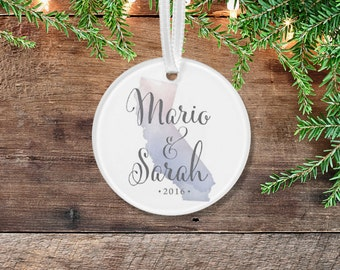 California Watercolor Ornament . Choose Any State . Wedding Anniversary Calligraphy & Purple or Custom Quote . Clear Acrylic 3 inch Circle