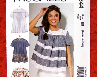 McCall's Sewing Pattern M7544 Loose Fitting Tops, Yoked Blouse, Gathers Tucks Pleats, Sizes 14 16 18 20 22, Summer Fall Casual Wear, UNCUT