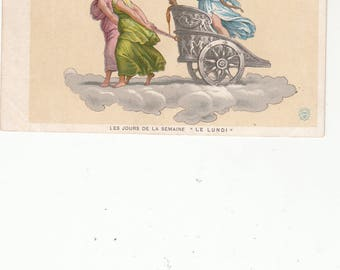 Antique Neoclassical Postcard/French Days Of The Week/Lundi/ Woman in Chariot Pulled By Two Women/Some Gold