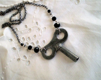 Steampunk Vintage Clock Key & Jet Black Crystal Choker Necklace - gunmetal, repurposed, industrial, Goth, short necklace, hardware, unique