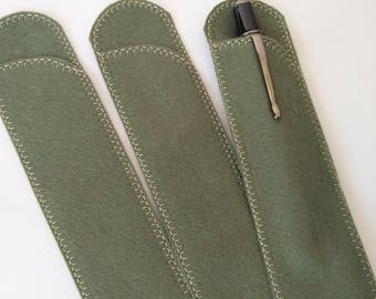 Pen Protector, Olive Wool Felt Pen Protector Sleeves for Purse and Pocket, Crotchet Hook Case