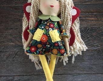 Handmade doll, toadstool fairy doll, cloth doll, rag doll, soft doll, yarn hair doll, fabric doll, heirloom doll, personalized custom doll