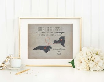 Personalized Long Distance Map Print Custom States Map Moving Gift Friendship Gift