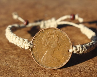 Hemp Coin Bracelet Square Knot Adjustable Bracelet