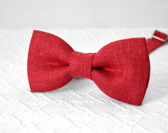 Crimson bow tie, crimson red bow tie, red wedding linen bow tie, rustic crimson bow tie, bow tie for men, groomsmen bow tie, mens bow tie