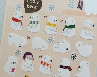 Polar Bears Stickers, Winter Mini Stickers, Planner Stickers, Deco Scrapbooking Sticker, Card Embellishment, Reward Stickers, Bear Gift