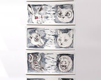 Series of FIVE original animal watercolor illustrations. Preys and predators. Wildlife animal paintings. Black and grey. 6x14 inches each.