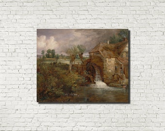 Engliush Landscape, John Constable, Old Masters Fine Art Print : Parham Mill, English Classical Art, Iconic Landscape Painting