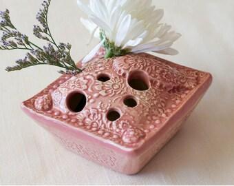 "Flower ""Pillow"" Vase - Intricate Floral Pattern in mauve glaze, Modern Home Decor"