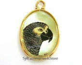 Hand Painted Cameo African Grey Parrot 14k GF Pendant Mother Of Pearl Shell Jewelry Gift Wearable Art