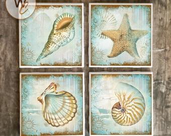 Shabby Sea Shell Coasters, Florida Coast Ceramic Tile Coasters, Handmade Nautical Hot and Cold Bar Coasters, Beach Decor, Made to Order