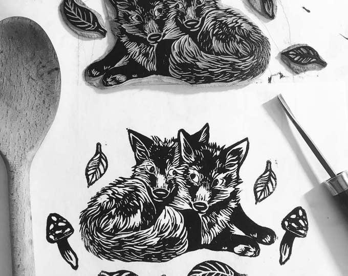 Fox Illustration nature print, Linocut, 6 x 8, Illustration art, fox art, Graphic art, Fox print art