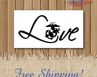 Love with EGA - USMC Decal - 5 Inch Vinyl Decal - Marine Love - Marine Girlfriend - Marine Wife - USMC Girlfriend - Usmc Wife - Marine Decal