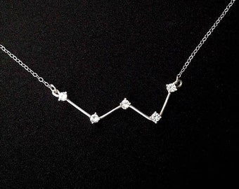 Large Cassiopeia Constellation Necklace (White Topaz and Sterling Silver)