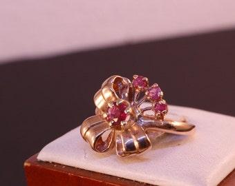 Art Deco Ring, 14k Rose Gold,Ruby. Circa 1940's