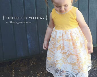 Too Pretty Yellowy Lace Dress, Baby Easter Dress, Baby yellow dress, baby lace dress, spring dress