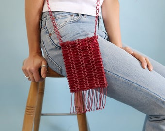 Red Vintage Beaded Purse with Fringe Detail
