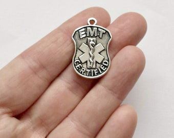 2 EMT Certified Charms -  Emergency - Medical - Double Sided - Charms - Pendants #S0269