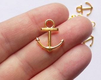 50 Anchor Charms - Gold Tone - #G0017
