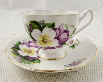 Queen Anne Tea Cup and Saucer with Purple Flowers, Vintage, Fine Bone China