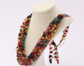 Adjustable Crochetlaces Necklace - Fiesta, wider ribbon