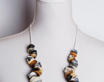 Big bead necklace from handmade resin beads in black/brown/white